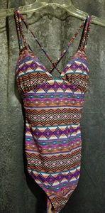 Aztec print one-piece swimsuit